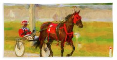 Horse, Harness And Jockey Bath Towel