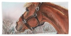 Horse Head Painting In Watercolor Hand Towel by Maria's Watercolor