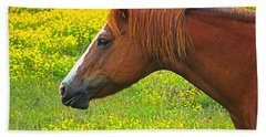 Bath Towel featuring the photograph Horse In Yellow Field by Wendy McKennon
