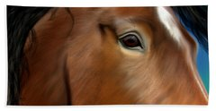 Horse Portrait Close Up Hand Towel