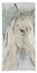 Horse Portrait-farm Animals Bath Towel