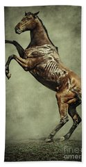 Horse Rearing Up On Dust Background Hand Towel