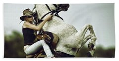 Horse Rearing With Girl Hand Towel