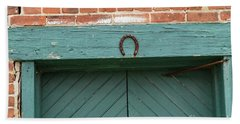 Horse Shoe On Old Door Frame Hand Towel