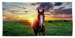 Horses At Sunset Bath Towel
