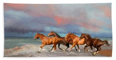 Horses At The Beach Hand Towel by Mim White
