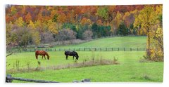 Horses Contentedly Grazing In Fall Pasture Bath Towel