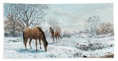 Bath Towel featuring the digital art Horses In Countryside Snow by Martin Davey