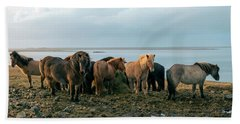 Horses In Iceland Bath Towel by Dubi Roman