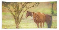 Horses In The Meadow Bath Towel
