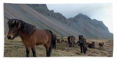 Horses Near Vestrahorn Mountain, Iceland Bath Towel