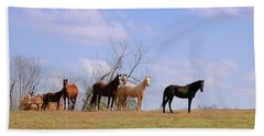 Hand Towel featuring the photograph Horses On The Hill by Bonnie Willis