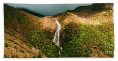Horsetail Falls In Queenstown Tasmania Hand Towel