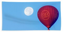 Hand Towel featuring the photograph Hot Air Balloon And Moon by Pradeep Raja Prints