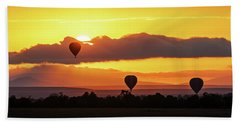 Hot Air Balloons In Surise Orange Africa Sky Hand Towel