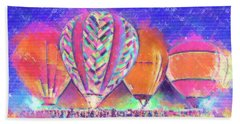 Hot Air Balloons Night Festival In Pastel Bath Towel