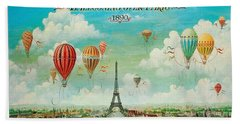 Hot Air Balloons Over Paris, Abstract Poster Hand Towel