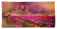 Hot Air Balloons Over Tulip Fields Hand Towel by Jeff Burgess