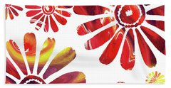 Hot Daisies Watercolor Silhouette Hand Towel