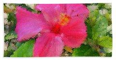 Hot Pink Hibiscus Bath Towel by Alan Lakin