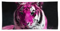 Hot Pink Tiger Hand Towel by Rebecca Margraf