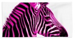 Hot Pink Zebra Bath Towel by Rebecca Margraf
