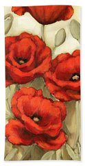 Hot Red Poppies Hand Towel