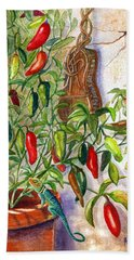 Bath Towel featuring the painting Hot Sauce On The Vine by Marilyn Smith