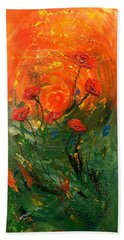 Hand Towel featuring the painting Hot Summer Poppies by Dorothy Maier
