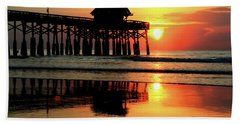 Hot Sunrise Over Cocoa Beach Pier  Hand Towel