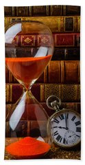 Hourglass And Pocket Watch Hand Towel