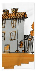 House And Moon Hand Towel