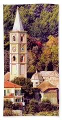 Hand Towel featuring the digital art House, Church And Castle by Jennie Breeze