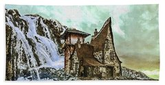 Bath Towel featuring the digital art House Near Waterfall by PixBreak Art