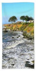Bath Towel featuring the photograph House On The Point Cayucos California by Barbara Snyder