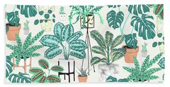 House Plants Teal Hand Towel