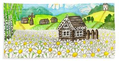 House With Camomiles, Painting Hand Towel