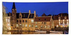 Houses By A Canal - Bruges, Belgium Bath Towel