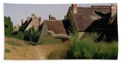 Houses Near Orleans Bath Towel by Jean-Baptiste-Camille Corot