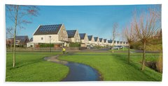 Houses With Solar Panels Bath Towel
