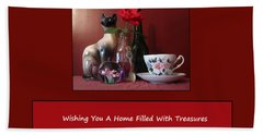 Hand Towel featuring the mixed media Housewarming Card by Mary Ellen Frazee