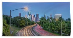 Bath Towel featuring the photograph Houston Evening Cityscape by James Woody