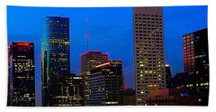 #houston #skyline At #night. #lights Bath Towel by Austin Tuxedo Cat