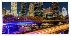 Houston Skyline From I-45 Bath Towel