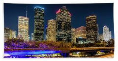 Bath Towel featuring the photograph Houston Skyline From I-45 by Andy Crawford