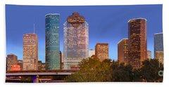 Houston Texas Skyline At Dusk Hand Towel