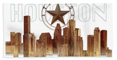 Bath Towel featuring the painting Houston Texas Skyline by Doug Kreuger