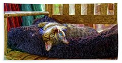 Bath Towel featuring the photograph How My Cat Looks When I Am On Acid by John Kolenberg