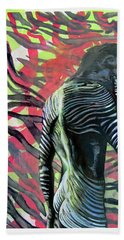 Hand Towel featuring the painting Rising From Ashes Zebra Boy by Rene Capone