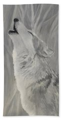 Bath Towel featuring the painting Howling Wolf by Kevin Daly